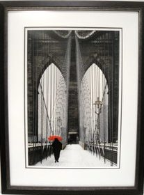 wooden black brooklyn bridge frame