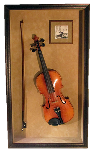 framed art and musical instruments